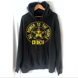 Obey Graphic Pullover Black Hooded Sweatshirt